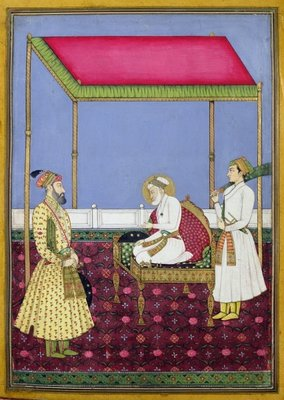 The Emperor Aurangzeb in old age seated on a throne, miniature from a Muraqqa album, early eighteenth century (gouache & gold leaf on paper) by Indian School - print