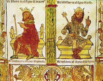 King Porsenna and King Desiderius, from 'The Book of Fate' by Lorenzo Spirito Gualtieri (printed paper) by Italian School - print