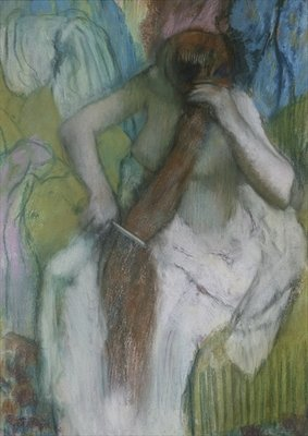 Woman Combing her Hair, 1887-90 (pastel on paper) by Edgar Degas - print