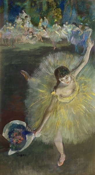 End of an Arabesque, 1877 (oil & pastel on canvas) by Edgar Degas - print