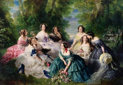 Empress Eugenie (1826-1920) Surrounded by her Ladies-in-Waiting, 1855 (oil on canvas) by Franz Xaver Winterhalter - print
