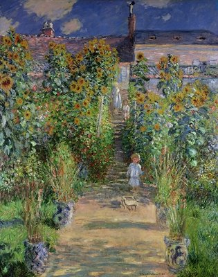 The Artist's Garden at Vetheuil, 1880 (oil on canvas) by Claude Monet - print