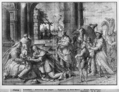 Life of Christ, Adoration of the Magi, preparatory study of tapestry cartoon for the Church Saint-Merri in Paris, c.1585-90 (pierre noire & wash & white highlights on paper) by Henri Lerambert - print