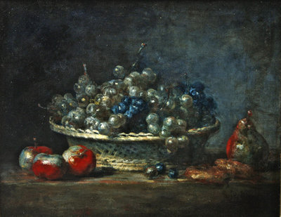 Still life: grape basket with three apples, a pears and two marzipans, 1764 Poster Art Print by Jean-Baptiste Simeon Chardin