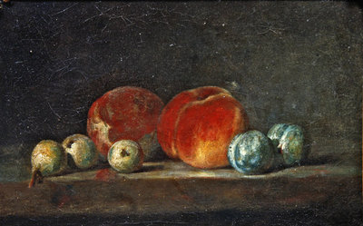 Peaches, Pears and Plums on a table Poster Art Print by Jean-Baptiste Simeon Chardin