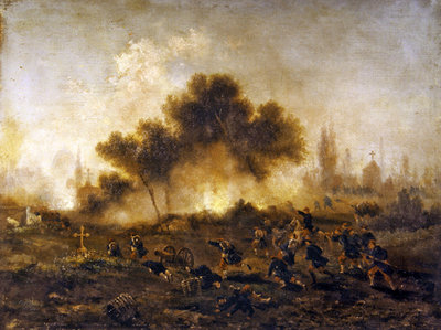 Paris Commune: assault on a cemetery by regular troops and capture of the barricades in May 1871, 1871 (oil on canvas) by Gustave Clarence Rodolphe Boulanger - print