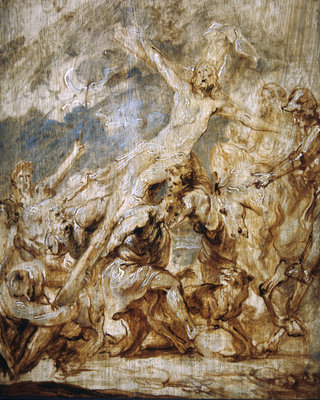 Sketch of the lifting of the cross, 1630 (oil & grisaille on wood) by Sir Anthony van Dyck - print