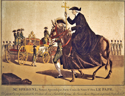 Monsignor Speroni carrying the papal cross, precedes Pope Pius VII on their way to Notre-Dame Cathedral, Paris, for the coronation of Emperor Napoleon and Empress Josephine on 3 November 1804 Poster Art Print by French School