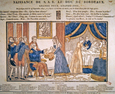 The birth of Henri Charles Ferdinand Marie Dieudonne de France, Duc de Bordeaux, Comte de Chambord on 29 September, 1820 Poster Art Print by French School