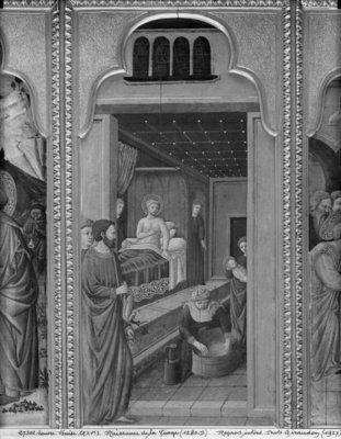 Cycle of the Life of the Virgin, Birth of the Virgin, c.1445 (oil on poplar panel) (b/w photo) by Giovanni Francesco da Rimini - print