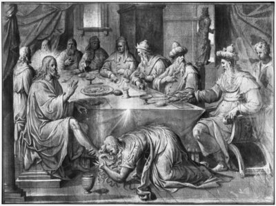 Life of Christ, the Meal at the House of Simon the Pharisee, preparatory study of tapestry cartoon for the Church Saint-Merri in Paris, c.1585-90 (pierre noire & wash & white highlights on paper) by Henri Lerambert - print