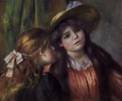 Portrait of Two Girls, c.1890-92 (oil on canvas) by Pierre-Auguste Renoir - print