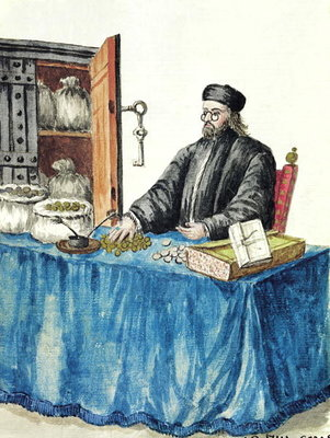 Fine Art Print of Venetian Moneylender, from an illustrated book of costumes by Jan van Grevenbroeck