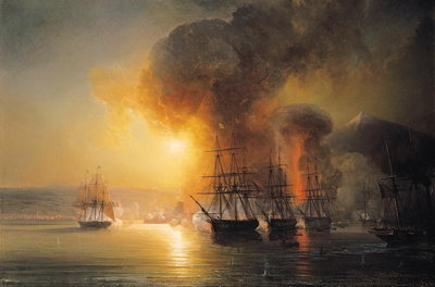 Capture of the Fort of Saint-Jean-d'Ulloa on 23rd November 1838, 1839 (oil on canvas) by Jean Antoine Theodore Gudin - print