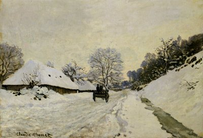 The Cart, or Road under Snow at Honfleur, 1865 (oil on canvas) by Claude Monet - print