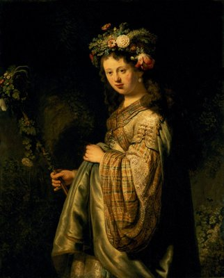 Saskia as Flora, 1634 (oil on canvas) by Rembrandt Harmensz. van Rijn - print