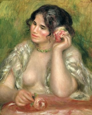 Gabrielle with a Rose, 1911 (oil on canvas) by Pierre Auguste Renoir - print