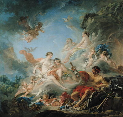 Fine Art Print of The Forge of Vulcan, or Vulcan presenting arms for Aeneas to Venus, tapestry cartoon, 1757 by Francois Boucher