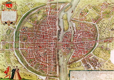 Map of Paris from 'Civitates orbis terrarrum' by Georg Braun (1541-1622) and Franz Hogenbergh (1540-92), French, 1572-1617 by Georg Braun - print
