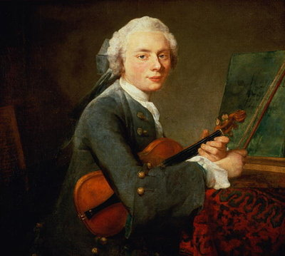 Fine Art Print of Young Man with a Violin, or Portrait of Charles Theodose Godefroy by Jean-Baptiste Simeon Chardin