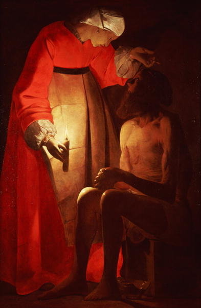 Fine Art Print of Job Mocked by His Wife by Georges de la Tour