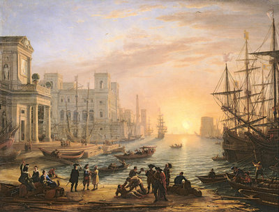 Fine Art Print of Sea Port at Sunset, 1639 by Claude Lorrain