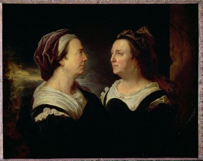 Double Portrait of Marie Serre, the artist's mother, 1695 (oil on canvas) by Hyacinthe Rigaud - print