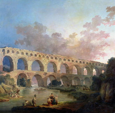 The Pont du Gard, Nimes, c.1786 (oil on canvas) by Hubert Robert - print