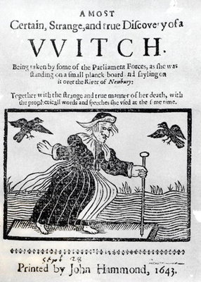 A Most Certain, Strange and True Discovery of a Witch, 1643 (engraving) (b&w photo) by English School - print