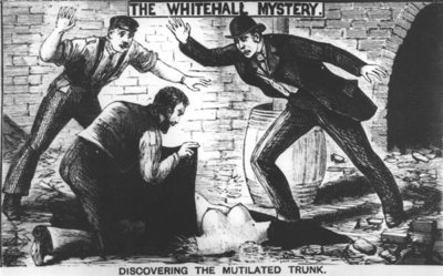 The Whitehall Mystery: Discovering the Mutilated Trunk, 1888 (engraving) (b&w photo) by English School - print