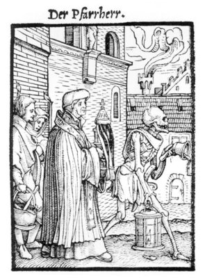 Fine Art Print of Death and the Parish Priest, from 'The Dance of Death', engraved by Hans Lutzelburger, c.1538 by Hans Holbein The Younger