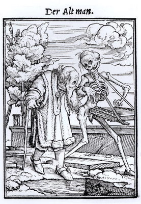 Fine Art Print of Death and the Old Man, from 'The Dance of Death', engraved by Hans Lutzelburger, c.1538 by Hans Holbein The Younger