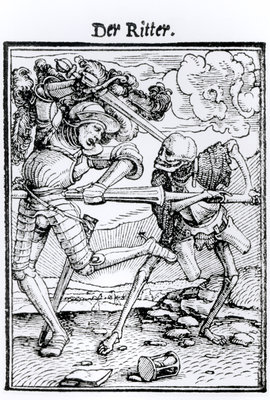Fine Art Print of Death and the Knight, from 'The Dance of Death', engraved by Hans Lutzelburger, c.1538 by Hans Holbein The Younger