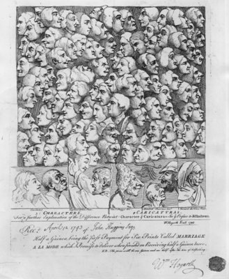 Fine Art Print of Characters and Caricatures, published in April 1743 by William Hogarth