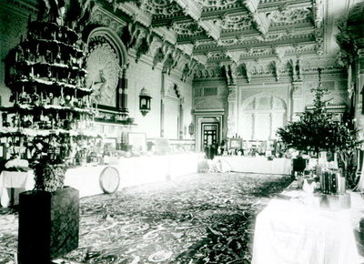 Christmas Tables in the Durbar Room at Osborne House, 1900 (b/w photo) by English Photographer - print