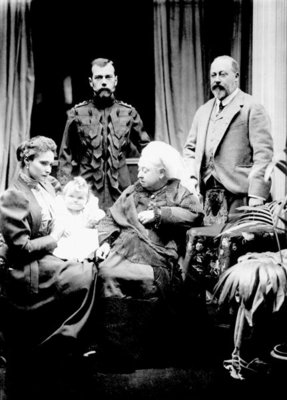 Queen Victoria, Tsar Nicholas II, Tsarina Alexandra Fyodorovna, her daughter Olga Nikolaevna and Albert, Prince of Wales photographed at Balmoral, 1896 (b/w photo) by English Photographer - print