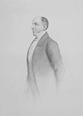Portrait of Sir James R. G. Graham (engraving) (b/w photo) by English School - print