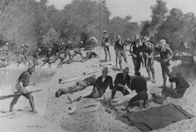 Field Hospital at 'The Bloody Ford' of San Juan Creek, 1898 (w/c on paper) (b/w photo) by Frederic Remington - print