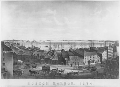 Fine Art Print of Boston Harbour, 1854 by American School