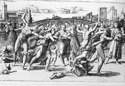 Fine Art Print of The Massacre of the Innocents, engraved by Marcantonio Raimondi by Raphael
