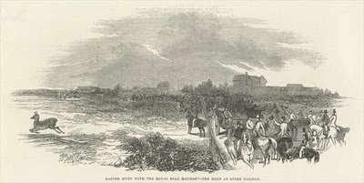 Easter Hunt with the Royal Stag Hounds: the Meet at Stoke Common, from 'The Illustrated London News', 29th March 1845 (engraving) by English School - print