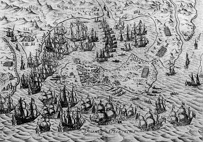 Fine Art Print of The Capture of Cadiz, 21 June 1596 by English School