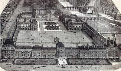 Modern view of the Tuileries and the Louvre, Paris, 1845 (engraving) by English School - print