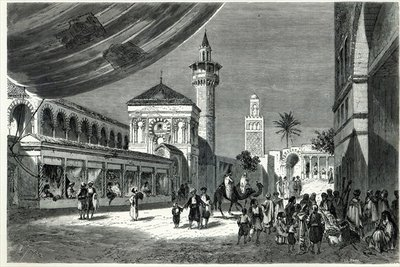 A Bazaar at Tunis (engraving) by Emile Theodore Therond - print