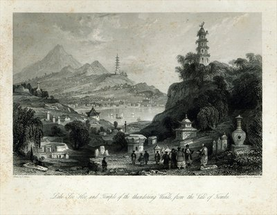 Lake See-Hoo and the Temple of the Thundering Winds, from the Vale of Tombs, engraved by J.C. Bentley, 1843 (steel engraving) by Thomas Allom - print