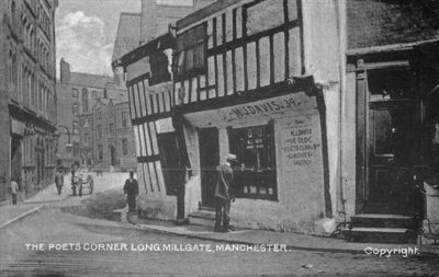 The Poet's Corner, Long Millgate, Manchester, c.1910 (b/w photo) by English Photographer - print