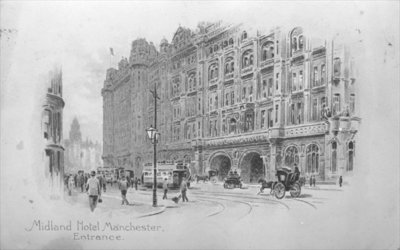 The Midland Hotel, Manchester, c.1910 (litho) (b/w photo) by English School - print