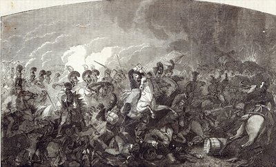 Fine Art Print of Charge of Lord Somerset's Heavy Brigade at Waterloo, and total rout of the French Army, illustration from 'Cassell's Illustrated History of England' by English School