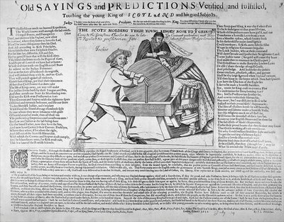 'Old Sayings and Predictions verified and fulfilled, touching the young King of Scotland and his gued Subjects', published in 1651 (engraving) by English School - print