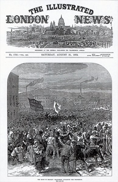 Fine Art Print of The Riots in Belfast: Orangemen attacking the procession, cover of 'The Illustrated London News', August 31st 1872 by English School
